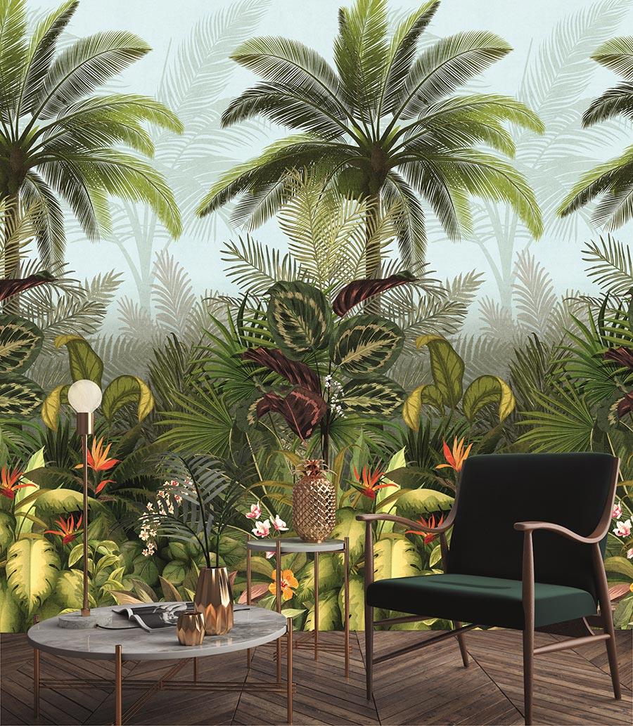 Wilder Dschungel. Die Artenvielfalt im Dschungel liebt intensive Farben, Grün hebt die Stimmung. Kollektion: Jungle Fever. Bildquelle: DTI/Grandeco