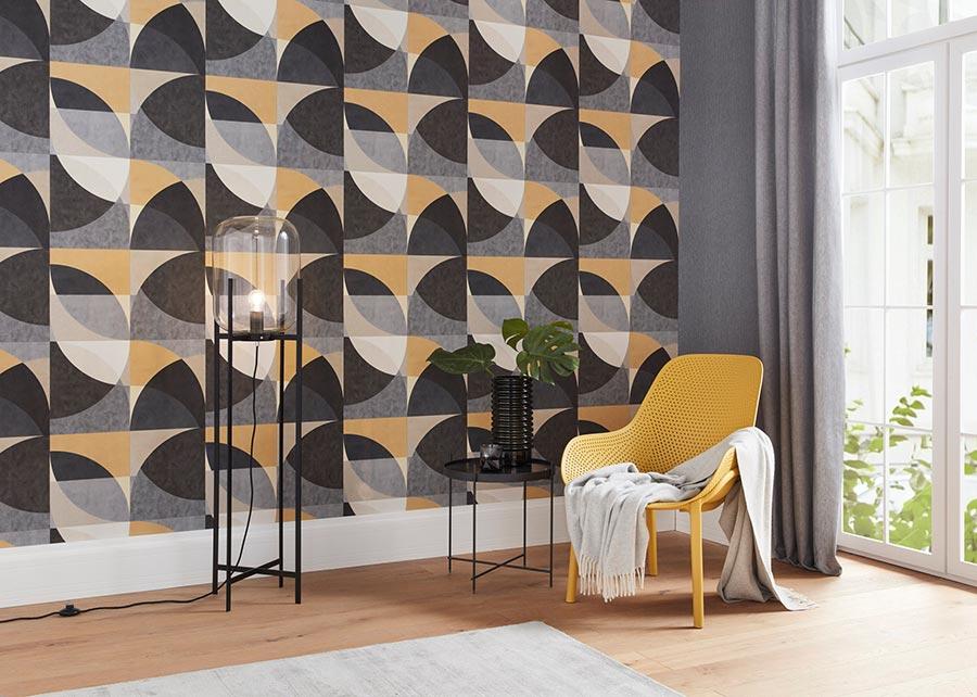 Geometrie. Reine Formsache: Tapeten mit geometrischen Motiven, hier im Retro-Stil, bleiben einfach up to date. Kollektion: ELLE Decoration. Bildquelle: DTI/Erismann