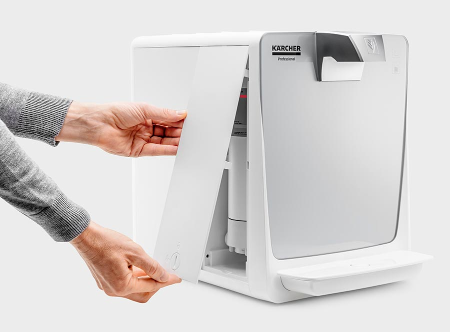 Eine leicht zu öffnende Servicetür vereinfacht die Wartung und ermöglicht es den Kunden, den Filter selbst zu wechseln.