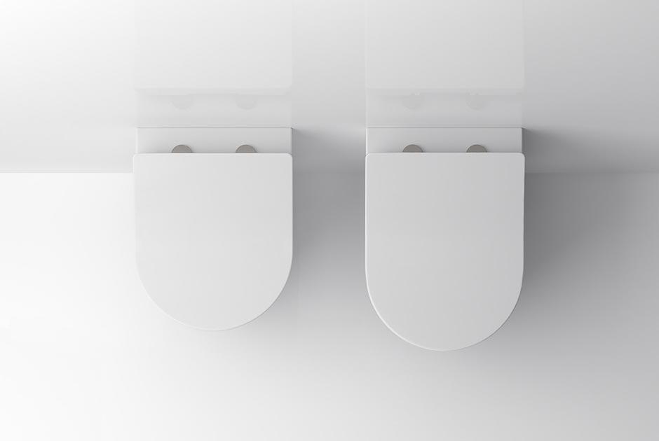 Im Vergleich die beiden Varianten des neuen WCs RP und RP compact (links). Sie sind wie alle TOTO WCs mit einer randlosen WC-Keramik ausgestattet und verfügen über eine besonders wirksame, kreisende Spültechnik (TORNADO FLUSH). Foto: TOTO