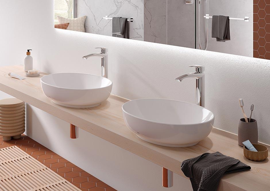 Die Aufsatzwaschtische der Serie WU werden in runder und eckiger Form angeboten und integrieren sich harmonisch in verschiedene Badezimmerambiente. Foto: TOTO